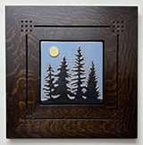 Pine Trees With Full Moon Framed Tile Click To Enlarge