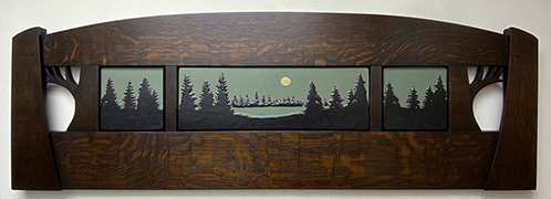 Pinescape Framed Pine Trees And Full Moon Over Field Lake Tile Triptych Display Click To Enlarge