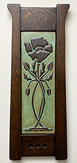 Arts & Crafts Nouveau Poppy Flower And Buds Framed Art Tile Click To Enlarge