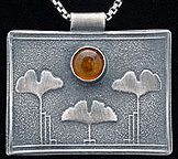Ginkgo Leaves Necklace With Amber