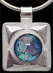 Rose With Leaves Silver Necklace Opal Mosaic Triplet