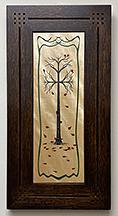 Oak Tree Falling Leaves Inlay Framed Wooden Tile Click To Enlarge