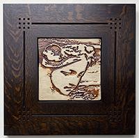 Framed Woman Art Nouveau Tile Click To Enlarge