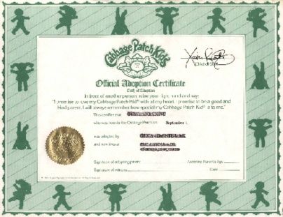 Cabbage patch kids birth certificate template jewish baby for Cabbage patch adoption certificate template
