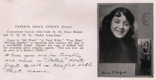 Gracy's yearbook photo 1924