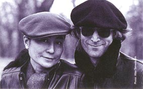 John and his wife, Yoko, taking a walk in Central Park