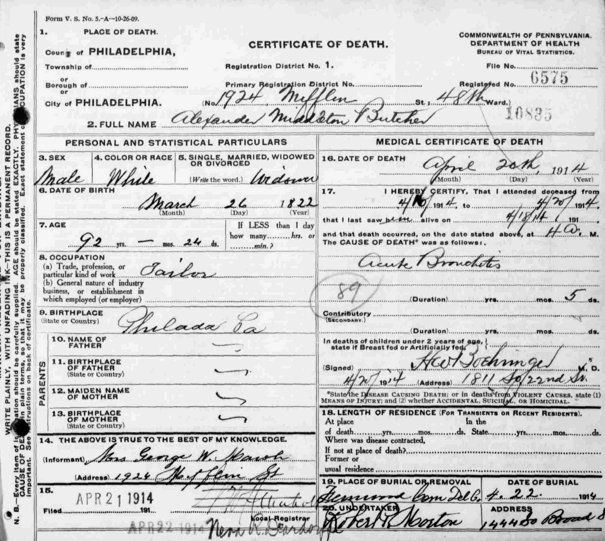 23rd pa death certificates page 1 23rdpa death certificate for private alexander middleton butcher company i 23rd pennsylvania volunteers died april 20th 1914 at the age of 92 1betcityfo Gallery