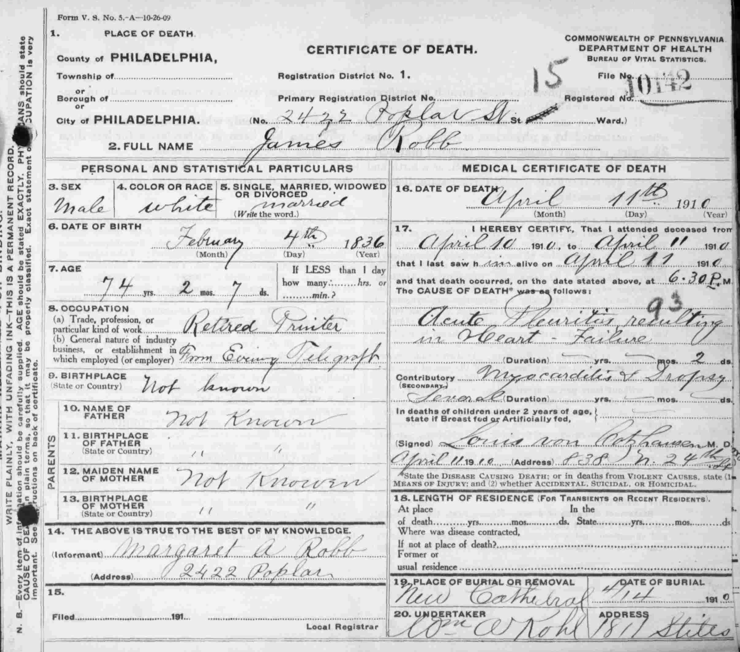 23rd pa death certificates page 2 23rdpa death certificate for private james robb company a 23rd pennsylvania volunteers died april 11th 1910 aiddatafo Images
