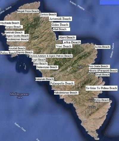 The nicest beaches and naturist beaches on the island of Andros in