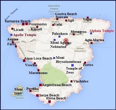 map of Aegina, Greece, plattegrond van Aegina, Griekenland