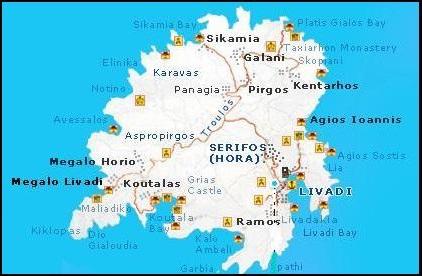 Serifos map, plattegrond