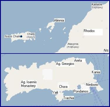 map of Halki or Chalki Greece, plattegrond van Chalki of Halki in Griekenland