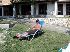 Corfu, webmaster Hans Huisman in Anna Pension in Liapades