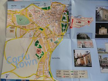 Corfu Stad plattegrond, Corfu Town map