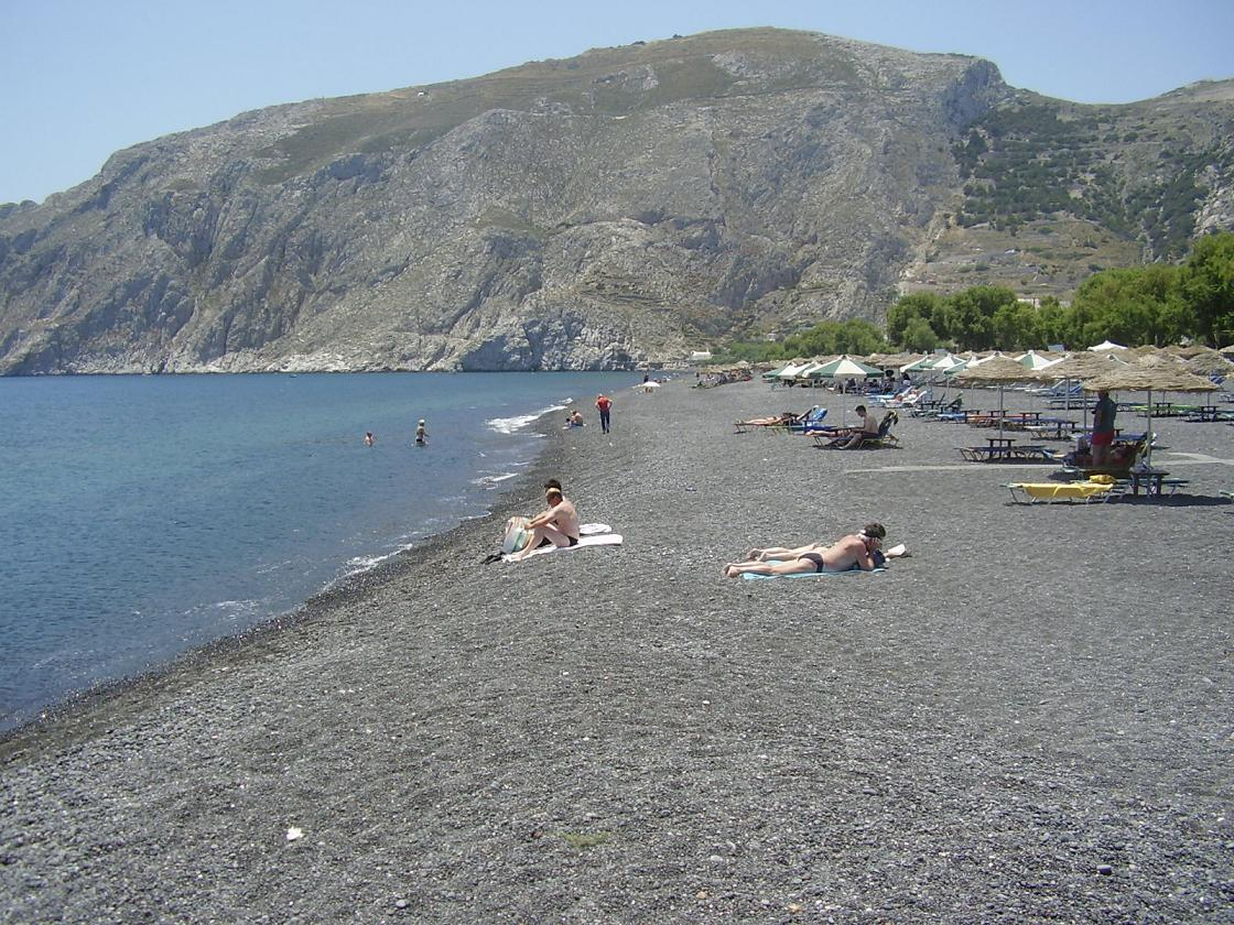 Kamari Beach And Perissa Beach In Santorini Or Thira Island Cyclades Greece