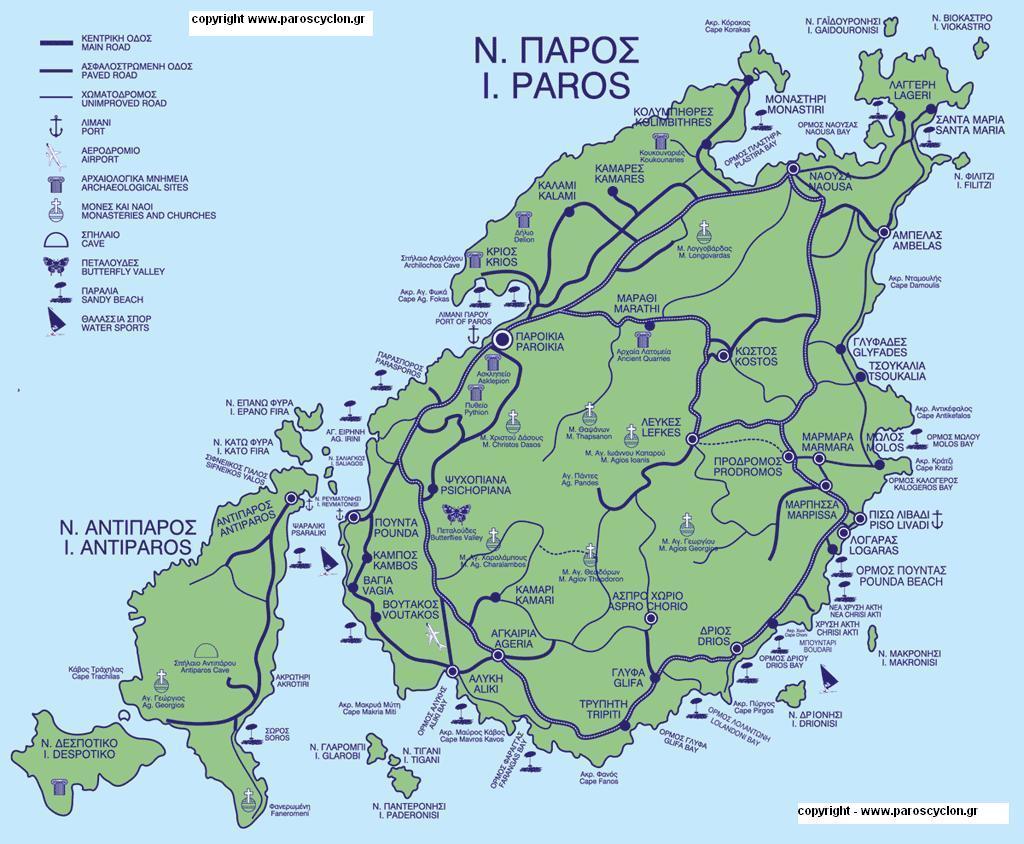 Paros map, Paros plattegrond