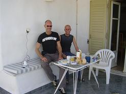 Paros, my friend and me on our terrace in Ikia Studios