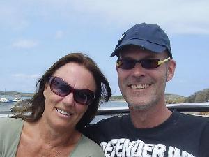 Vigdis en ik op de Sorgos 1 boot