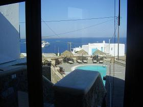 Villa Konstantin in Mykonos town, view from the breakfast room