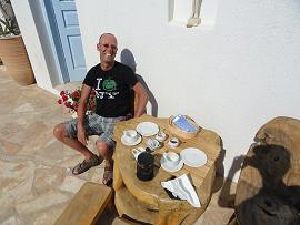 Folegandros, Chora, breakfast at Fata Morgana Studios