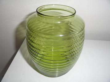 Copier olijfgroene geringde vaas uit 1953