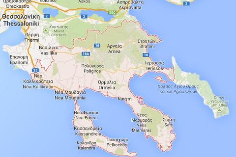 map of Halkidiki or Chaldikidi