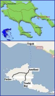 map of Amoliani Greece, plattegrond van Amoliani in Griekenland