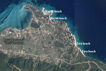 plattegrond van Karidi beach en Fava beach in Halkidiki