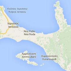 map of Ouranoupoli in Halkidiki