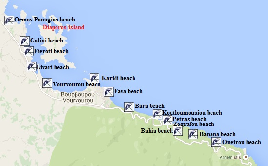 The nicest beaches naturist beaches and hotels in Vourvourou on the