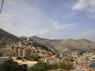 The windmills above in Yialos, Symi island