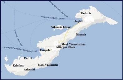 Plattegrond van Amorgos