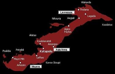 Amorgos plattegrond van de naturistenstranden