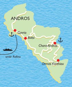 map of Andros Greece