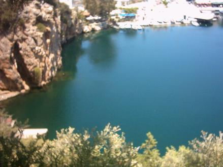 Voulismeni Lake as seen from above.