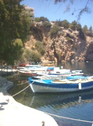 Boats in Voulismeni Lake.
