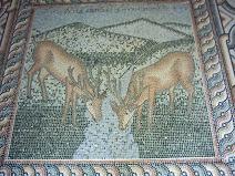 Mosaic floor in the chapel.