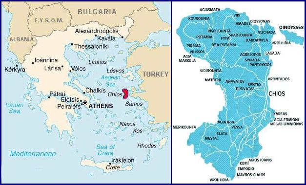 Chios map, plattegrond