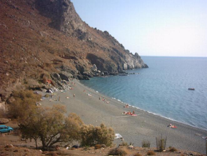 One of the two beaches at Dytikos near Lendas on Crete.