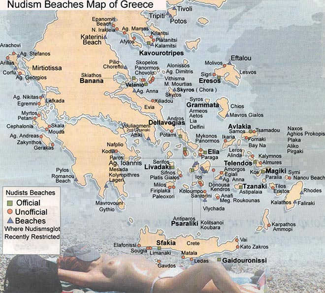 map of the naturist beaches in Greece