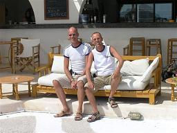 Ik en Methismennos poserend in Kalafatis