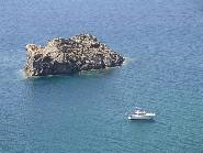 Lesbos, the rock in front of Skala Eressos Beach