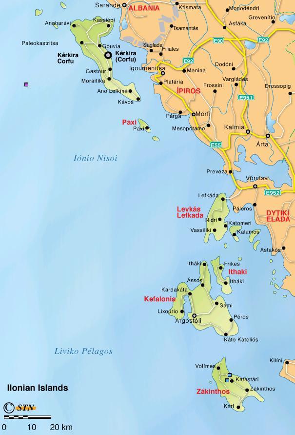 Map of Ionian islands, Plattegrond van de Ionische eilanden