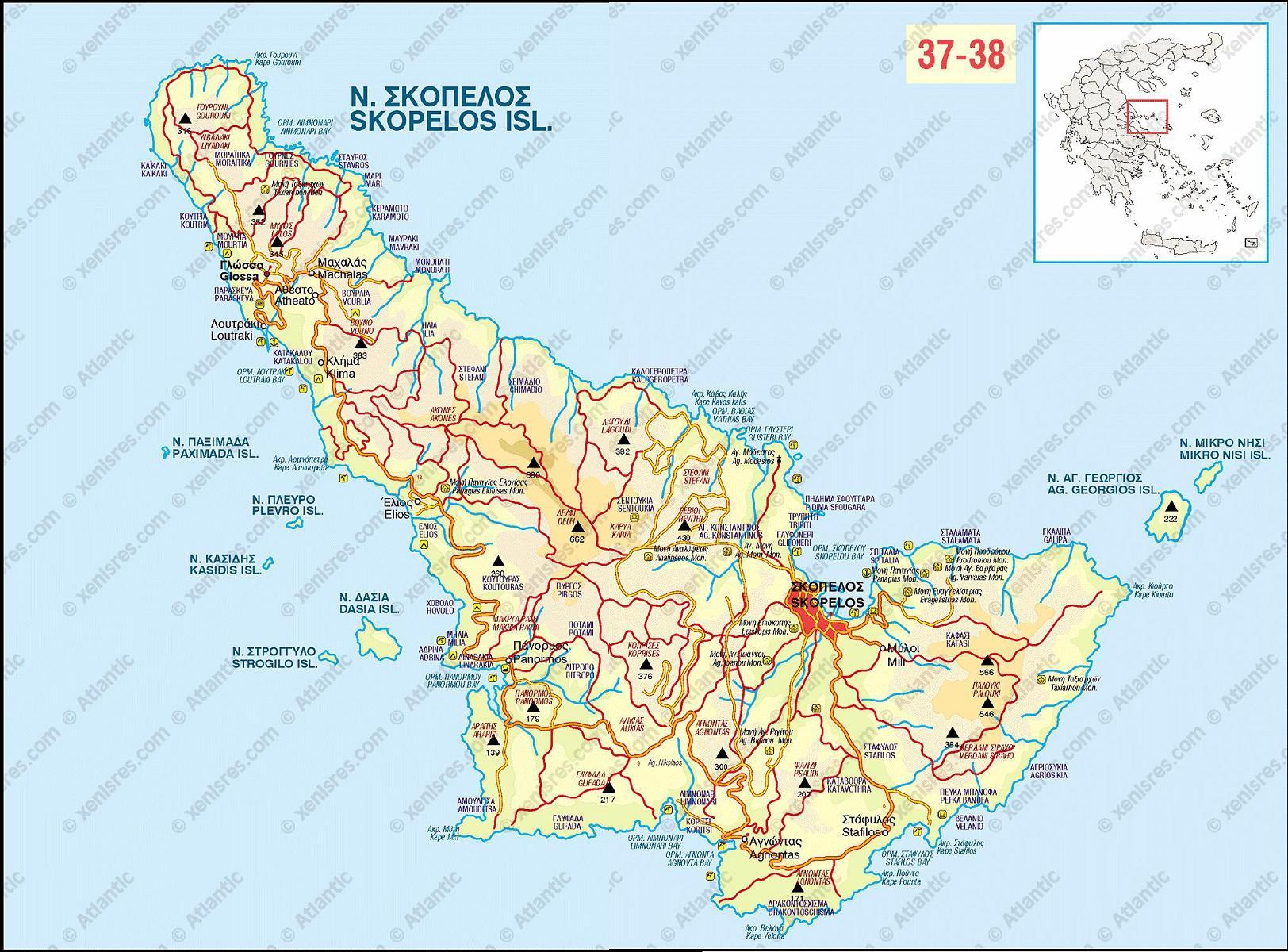 plattegrond van Skopelos