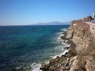 De kuststrook tussen Mykonos stad en Megali Amos beach.