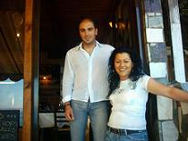 Stella and Nikos at Mouragio restaurant.