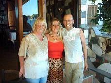 My friends at the Mouragio restaurant: Brigitte Sisi (locally known as Sura), Moniek and Methismennos.