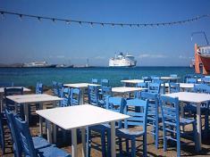 In de haven van Mykonos stad