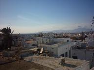 Blik over Mykonos Stad in de avond