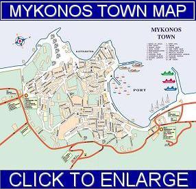 Mykonos stad plattegrond